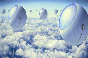 Futuristic World of Solar Energy above The Sky
