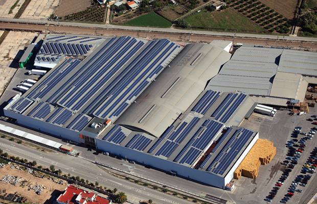 warehouse rooftops with solar panels
