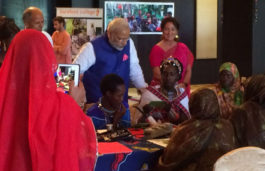 Rural Women solar engineers demonstrates their skills to PM Modi in Dar-es-Salaam