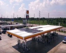Solar Frontier's CIS solar panels installed at Shell Service Station in Thailand