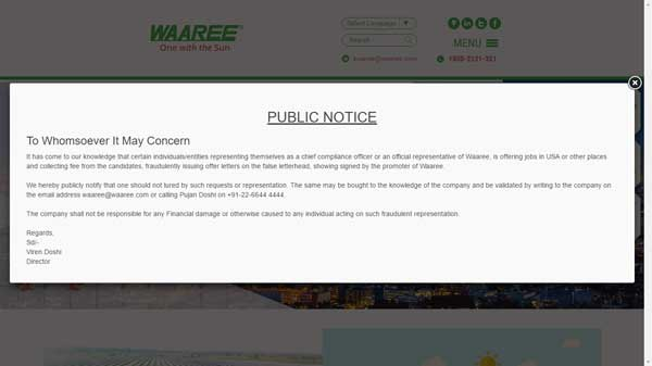 Waaree Public notice