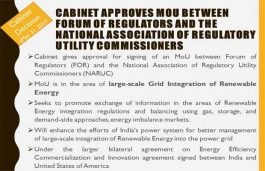 Cabinet approves MoU in the area of large-scale Grid Integration of Renewable Energy