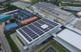 Solar Frontier's CIS solar panels installed at Kaosu Packing Factory Buildings in Thailand
