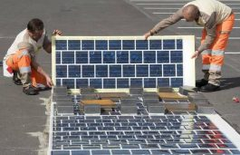 A Bit of Panel of China's New Solar Panel Tiled Street is Stolen by Somebody