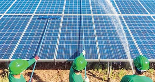 Cleaning of solar panel with water