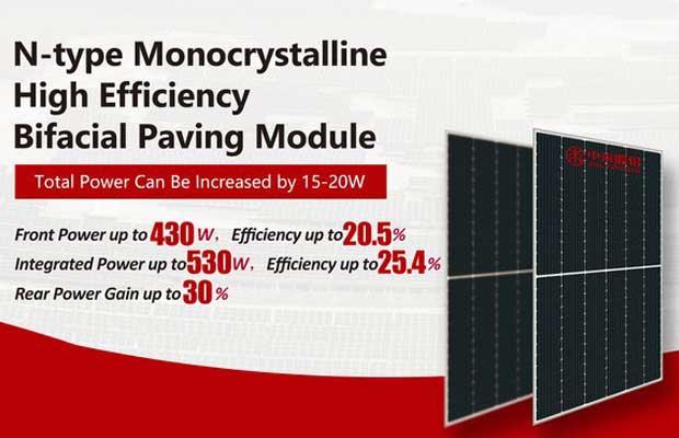 n-type monocrystalline high efficiency bifacial paving module