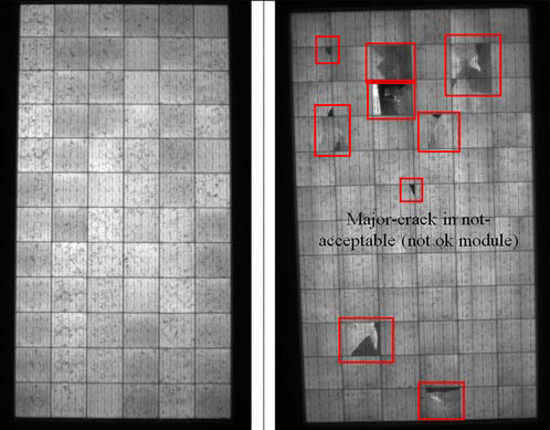 Sample EL image of one of the modules without & with cell cracks