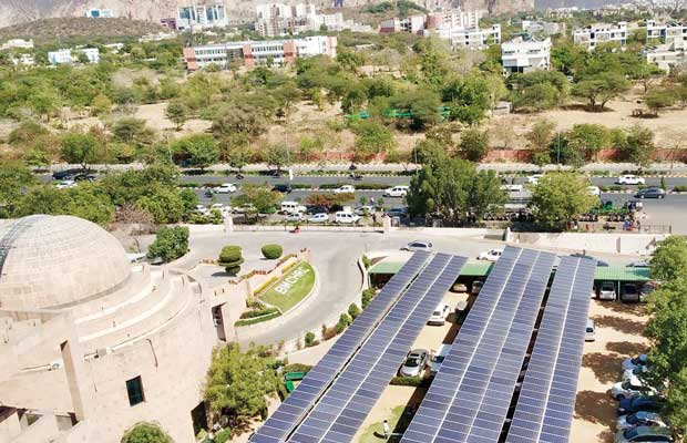 solar carport at Mahaveer Cancer Hospital in Jaipur