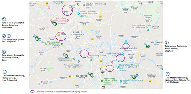 The locations of the public charging infrastructure which will now be available for consumers in Pune