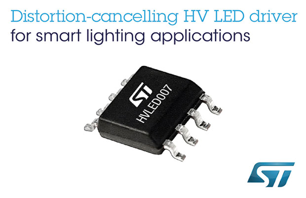 Distortion-Cancelling High-Voltage LED Driver from STMicroelectronics