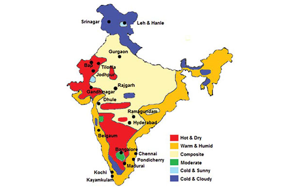 Division of climatic zones in India (Source: IIT Bombay)
