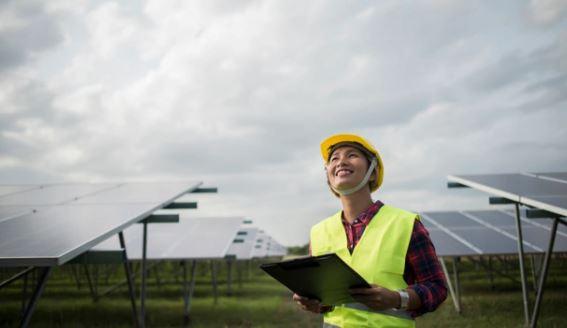 Woman at Solar Farm