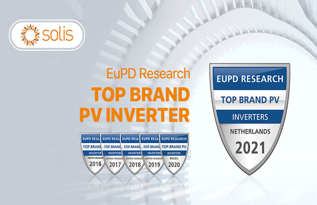 Ginlong Solis honoured with the Top Brand PV 2021 Award for inverter manufacturers