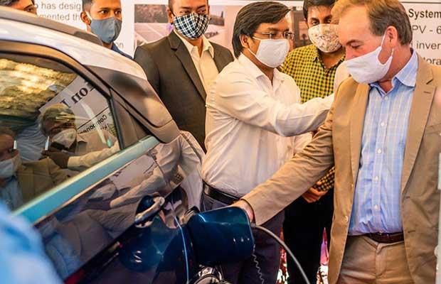 zero-emission EV charging station