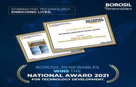 Borosil Renewables Bags National Award 2021 for Technology Development