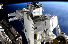 Solar Array Installation at a Space Station by NASA and ESA