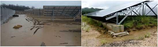 drainage system around the solar PV plant