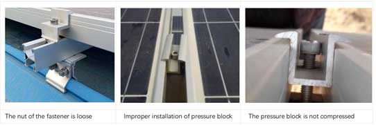 pressure block and screws of the PV module mounting