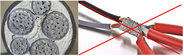 Aluminum Core Cables - Copper wire and aluminum wire cannot be directly connected